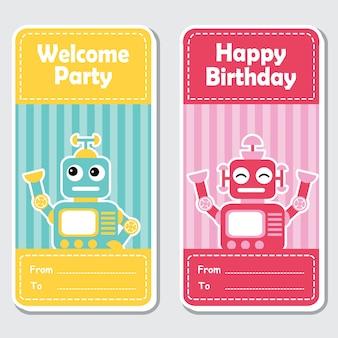 誕生日ラベルデザイン、バナーセット、招待状に適したストライプの背景に、かわいい青と赤のロボットとベクトル漫画のイラスト