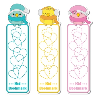 Vector cartoon illustration with cute colorful birds and love background suitable for kid bookmark label design, bookmark tag and sticker set
