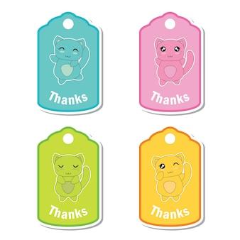 생일 선물 태그 세트 디자인, 감사 태그 및 인쇄용 스티커 세트에 적합한 귀여운 다채로운 고양이와 벡터 만화 일러스트 레이션