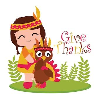 행복한 추수 감사절 카드 디자인, 감사 태그 및 인쇄 가능한 벽지에 적합한 정원에 귀여운 인도 소녀와 칠면조와 벡터 만화 일러스트 레이션
