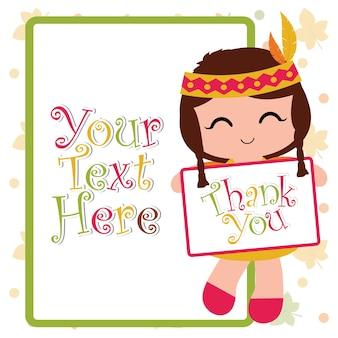 귀여운 인도 소녀와 벡터 만화 일러스트 레이 션 행복 추수 감사절 카드 디자인, 감사 태그 및 인쇄용 벽지에 적합한 프레임으로 감사 텍스트를 제공합니다