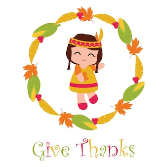 Vector cartoon illustration with cute indian girl in corn and maple leaves wreath suitable for happy thanksgiving card design, thanks tag, and printable wallpaper