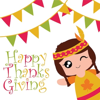 Vector cartoon illustration with cute indian girl is winking and smiling on colorful flags suitable for happy thanksgiving card design, thanks tag, and printable wallpaper