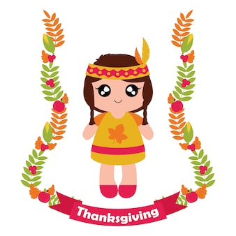 Vector cartoon illustration with cute indian girl in maple leaves wreath and ribbon suitable for happy thanksgiving card design, thanks tag, and printable wallpaper