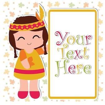 행복 추수 감사절 카드 디자인, 감사 태그 및 인쇄용 벽지에 적합한 텍스트 프레임 외에 귀여운 인도 소녀 미소 벡터 만화 일러스트 레이션