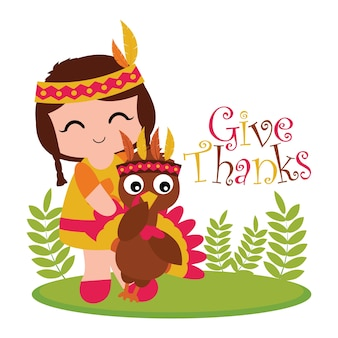 Vector cartoon illustration with cute indian girl and turkey on the garden suitable for happy thanksgiving card design, thanks tag, and printable wallpaper