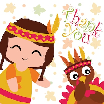 Vector cartoon illustration with cute indian girl and turkey on maple leaves background suitable for happy thanksgiving card design, thanks tag, and printable wallpaper