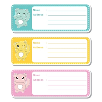Vector cartoon illustration with cute kawaii cats on colorful background suitable for kid address label design, address tag and printable sticker set