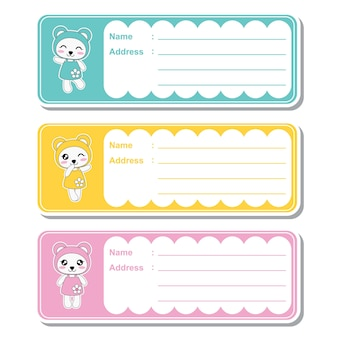 Vector cartoon illustration with cute kawaii pandas on colorful background suitable for kid address label design, address tag and printable sticker set
