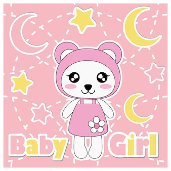 Vector cartoon illustration with cute panda girl, stars, and moon suitable for baby shower kid t-shirt graphic design, backdrop and wallpaper