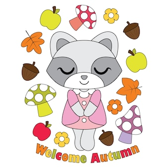 Vector cartoon illustration with cute raccoon girl, apple, mushroom and mapple leaves suitable for autumn kid t-shirt graphic design, backdrop and wallpaper