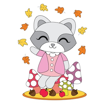 Vector cartoon illustration with cute raccoon girl sits on mushroom behind mapple leaves suitable for autumn kid t-shirt graphic design, backdrop and wallpaper