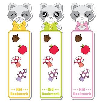かわいいアライグマの女の子、リンゴ、キノコ、子供のブックマークのラベルのデザイン、ブックマークのタグとステッカーのセットに適したベクトルの漫画のイラスト