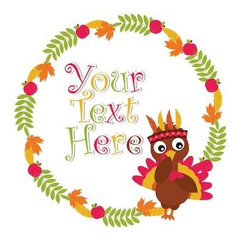 幸せな感謝のカードデザイン、感謝のタグ、および印刷可能な壁紙に適したメープルの葉とリンゴの花輪の上にかわいい七面鳥とベクトル漫画のイラスト