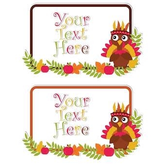 Vector cartoon illustration with cute turkey on leaves frames suitable for happy thanksgiving card set design, thanks tag, and printable sticker set