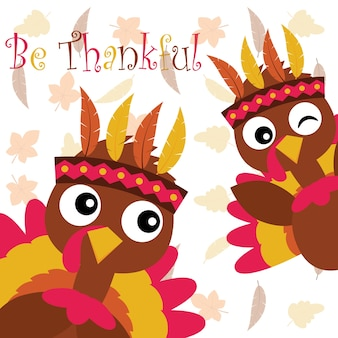 Vector cartoon illustration with cute turkey on maple leaves background suitable for happy thanksgiving card design, thanks tag, and printable wallpaper