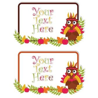 행복 한 추수 감사절 카드 세트 디자인, 감사합니다 태그 및 인쇄용 스티커 세트에 적합 한 나뭇잎 프레임에 귀여운 터키와 벡터 만화 일러스트 레이 션