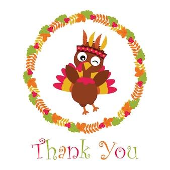 추수 감사절 카드 디자인, 감사 태그 및 인쇄용 벽지에 적합한 잎 화환에 귀여운 터키와 벡터 만화 일러스트 레이션