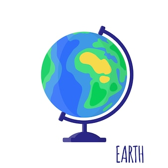 Vector cartoon illustration with desktop school earth globe isolated on white background. back to school