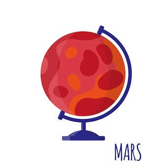 白い背景で隔離のデスクトップ学校火星地球とベクトル漫画イラスト。学校に戻る
