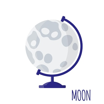 Vector cartoon illustration with desktop school moon globe isolated on white background. back to school