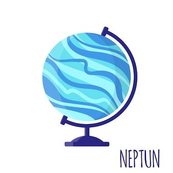 Vector cartoon illustration with desktop school neptun globe isolated on white background. back to school