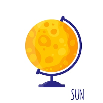 Vector cartoon illustration with desktop school sun globe isolated on white background. back to school