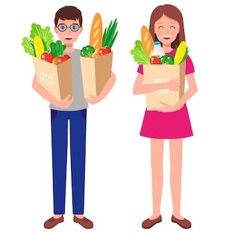 흰색 배경에 고립 된 신선한 건강 식품 종이 식료품 가방을 들고 가족과 함께 벡터 만화 일러스트 레이 션