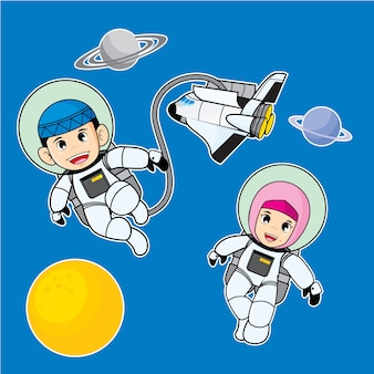 Vector cartoon illustration with moslem kids theme