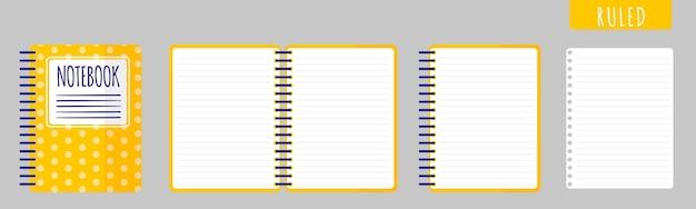 Векторные иллюстрации шаржа с управляемой записной книжкой, открытой записной книжкой и пустыми листами на белом фоне.