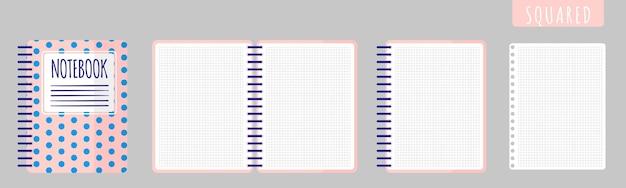 Векторные иллюстрации шаржа с квадратом ноутбука, открытой записной книжкой и пустыми листами на белом фоне.
