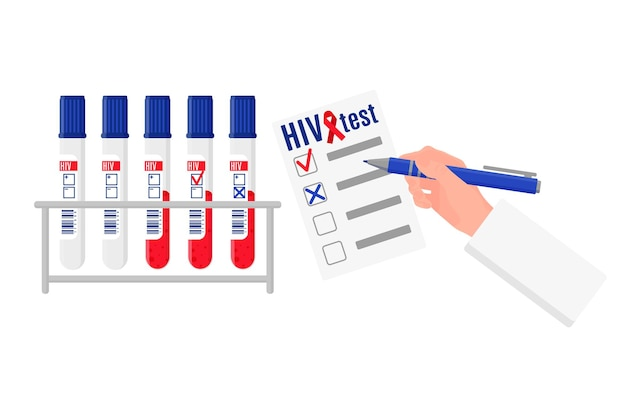 Vector cartoon illustration with stand and test tubes with blood test for hiv and blank with results. world aids day.