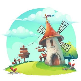 Vector cartoon illustration with a windmill, hedge, fence, paling, tree, flower, rocks