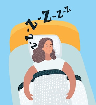 Vector cartoon illustration of woman sleeping at night in her bed