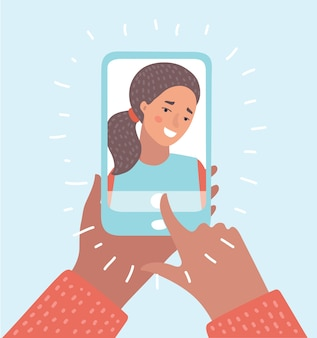 Vector cartoon illustration of woman taking selfie photo on smartphone.