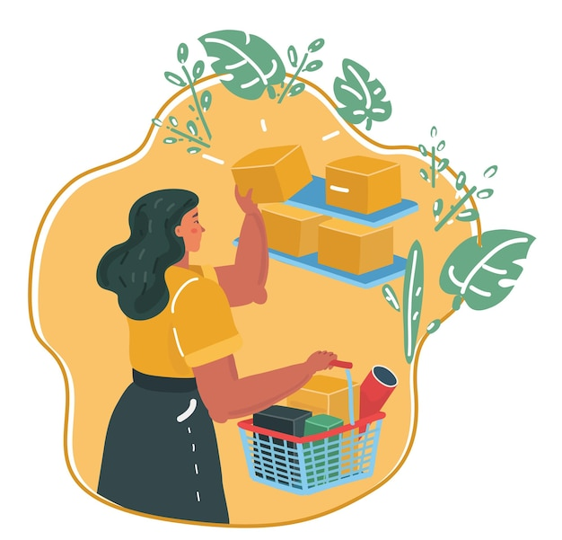 Vector cartoon illustration of women shopping with basket in her hands in a store, shelves with goods. eco shop.
