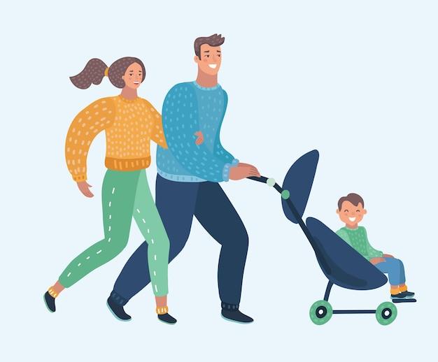Векторные иллюстрации шаржа молодые мать и отец и детская коляска