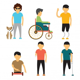 Vector cartoon illustrations of people with disabilities