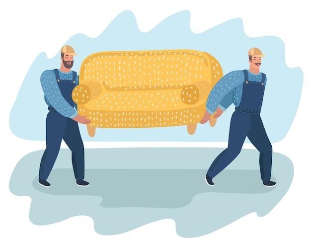 2人のポーターのベクトル漫画illustratonはソファを運ぶ