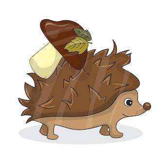 흰색 갈색 버섯 - 재미있는 숲 고슴도치와 귀여운 갈색 고슴도치의 벡터 만화 이미지. 벡터 일러스트 레이 션