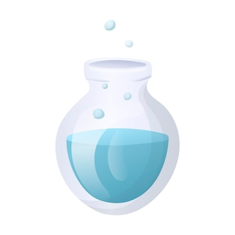 内部に液体または試薬を使用した化学実験用のガラスフラスコのベクトル漫画画像。学校や大学向けの実験用ガラス器具。