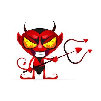 角と尾がどこかで実行され、白い背景に笑みを浮かべて面白い赤い悪魔のベクトル漫画画像。