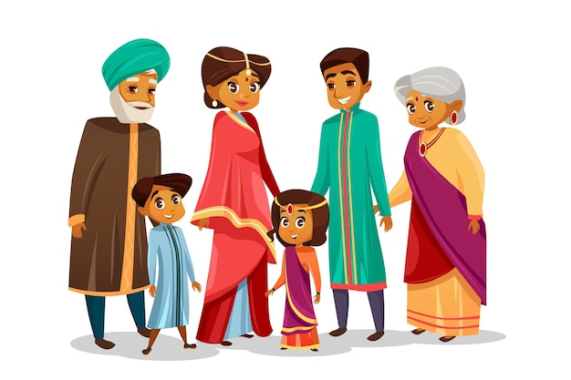 Vector cartoon indian family in national costume
