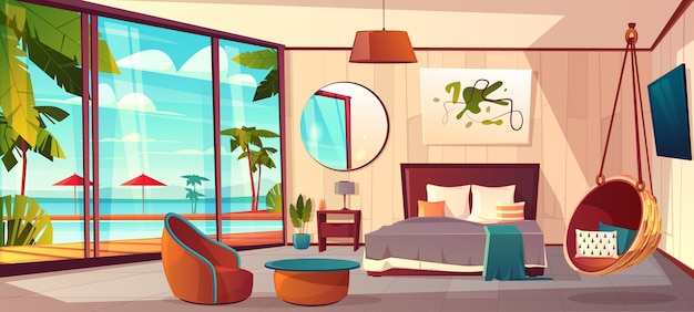 Vector cartoon interior of cozy hotel bedroom with furniture
