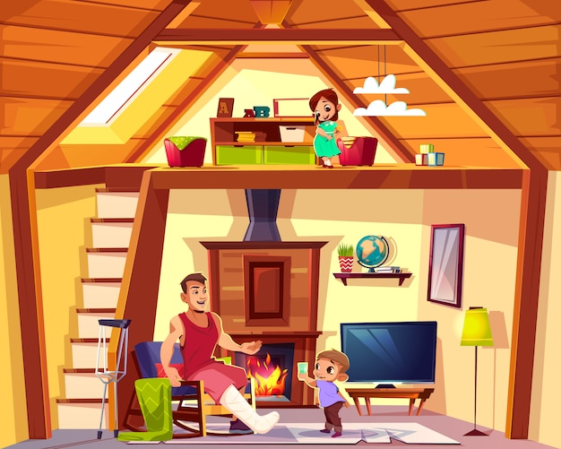 Векторный мультфильм интерьер дома с семьей. отец-инвалид с помощью сына в гостиной. девушка