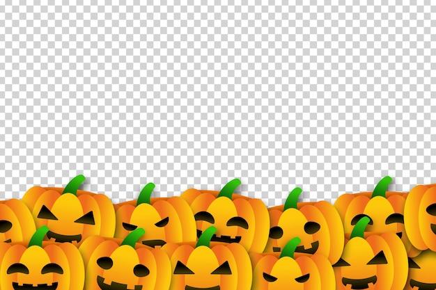 Vector cartoon isolated pumpkins border for template decoration
