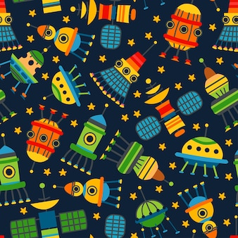 A vector cartoon kids spaceships seamless pattern. cute children design template. bright earth satellites icons for textile, wrapping paper, greeting cards or posters for kindergarten