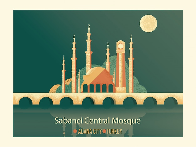 Vector cartoon landmark of best famous islamic mosque.sabanci central mosque with old clock tower and stone bridge in front of seyhan river in adana city of turkey.