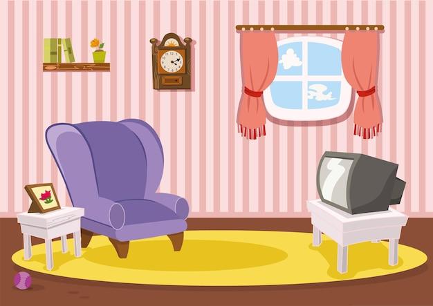 Vector cartoon living room illustration