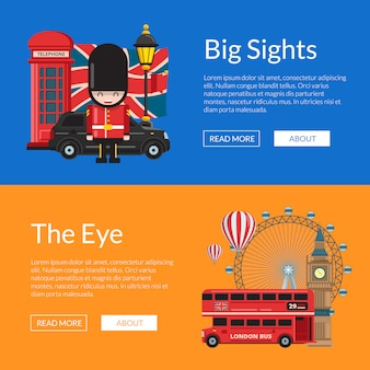 Vector cartoon london sights. england attractions banner template set